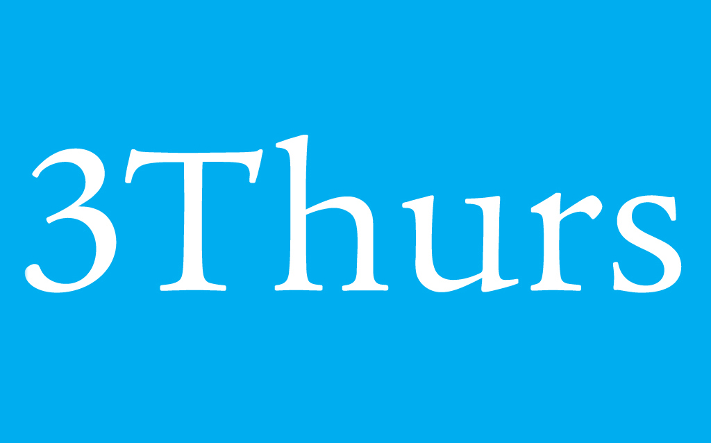 "The words ""3Thurs"" on a blue background"